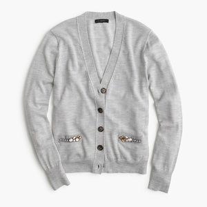 J. Crew Beaded Embellished Wool Cardigan Sweater